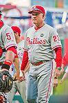 23 May 2015: Philadelphia Phillies Manager Ryne Sandberg walks off the field after a game against the Washington Nationals at Nationals Park in Washington, DC. The Phillies defeated the Nationals 8-1 in the second game of their 3-game weekend series. Mandatory Credit: Ed Wolfstein Photo *** RAW (NEF) Image File Available ***