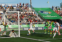 HEMPSTEAD, NY – SEPTEMBER 29: Peri Marosevic of the New York Cosmos scores a goal in the 23rd minute against the Tampa Bay Rowdies on September 29, 2013 at Hofstra University's Shuart Stadium in Hempstead, New York.