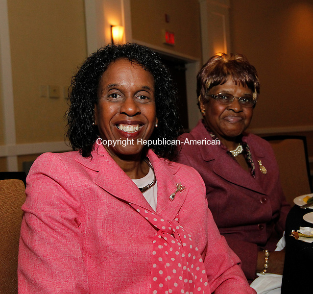 Waterbury, CT-28 April 2012-042812CM06-  SOCIAL MOMENTS: L-R Honoree Karen Harvey of Waterbury and her mother, Gladys Passmore of Waterbury at a meeting of the National Congress of Black Women Saturday afternoon at the Courtyard Marriott in Waterbury.    Christopher Massa Republican-American