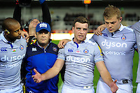 George Ford of Bath Rugby speaks to his team-mates in a post-match huddle. Aviva Premiership match, between Exeter Chiefs and Bath Rugby on October 30, 2016 at Sandy Park in Exeter, England. Photo by: Patrick Khachfe / Onside Images