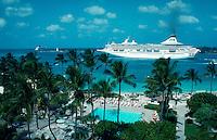 Royal Princess cruise ship departing the Bahamas. Nassau, Bahamas.