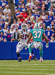 14 September 2014: Buffalo Bills cornerback Leodis McKelvin receives a punt during play against the Miami Dolphins at Ralph Wilson Stadium in Orchard Park, NY. The Bills defeated the Dolphins 29-10 to win their home opener and start the season with a 2-0 record. Mandatory Credit: Ed Wolfstein Photo *** RAW (NEF) Image File Available ***