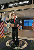 Fort Meade, MD - January 25, 2006 -- United States President George W. Bush addresses the media during a visit to the National Security Agency in Fort Meade, Maryland, Wednesday, January 25, 2006. .Credit: Eric Draper - White House via CNP