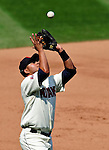 6 September 2009: Cleveland Indians' third baseman Jhonny Peralta pulls in an infield fly against the Minnesota Twins at Progressive Field in Cleveland, Ohio. The Indians defeated the Twins 3-1 to take the rubber match of their three-game weekend series. Mandatory Credit: Ed Wolfstein Photo