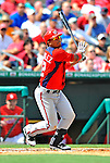 3 March 2011: Washington Nationals' infielder Alberto Gonzalez in action during a Spring Training game against the St. Louis Cardinals at Roger Dean Stadium in Jupiter, Florida. The Cardinals defeated the Nationals 7-5 in Grapefruit League action. Mandatory Credit: Ed Wolfstein Photo