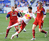 Juan Pablo Angel (9) of the New York Red Bulls takes a shot. The New York Red Bulls and Real Salt Lake played to a 0-0 tie during a Major League Soccer (MLS) match at Red Bull Arena in Harrison, NJ, on October 09, 2010.