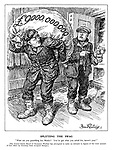 """Splitting the Swag. """"What are you grumbling for, Benito? You've got what you asked for, haven't you?"""" [The United States Board of Economic Warfare has attempted to make an estimate in figures of the total amount of loot taken by Germany from occupied Europe.] (Hitler carries a huge bag of loot worth £9billion while Mussolini only has a small pot of Tunis as theives in a bank raid)"""
