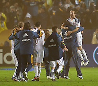 CARSON, CA - November 20, 2011: LA Galaxy celebrate their victory after the MLS Cup match between LA Galaxy and Houston Dynamo at the Home Depot Center in Carson, California. Final score LA Galaxy 1, Houston Dynamo 0.