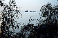 A sand-ship on Dongting Lake, Hunan Province. Dongting Lake has decreased in size in recent decades as a result of land reclamation and damming of the Yangtze. China. 2010