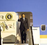 Barack Obama's first visit to Belgium, arriving at Abelag airport in Brussels - Belgium