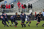 13 December 2009: Virginia players race away from their pregame huddle. The University of Akron Zips played the University of Virginia Cavaliers at WakeMed Soccer Stadium in Cary, North Carolina in the NCAA Division I Men's College Cup Championship game.