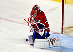 10 April 2010: Montreal Canadiens' goaltender Jaroslav Halak makes a first period save against the Toronto Maple Leafs at the Bell Centre in Montreal, Quebec, Canada. The Maple Leafs defeated the Canadiens 4-3 in sudden death overtime. Mandatory Credit: Ed Wolfstein Photo