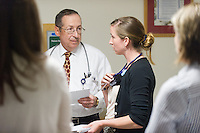 Sarah Gardner, class of 2015, right, and Lewis First, M.D. Morning rounds, clerkship.