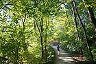 Sept. 24, 2013; Student jogs on a trail along St. Joseph Lake. Photo by Barbara Johnston/University of Notre Dame