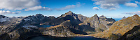 Panoramic view over Hermannsdalstind and mountains of Moskenesøy, Lofoten Islands, Norway