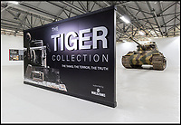 BNPS.co.uk (01202 558833)<br /> Pic: TankMuseum/BNPS<br /> <br /> This is the poignant moment two German Tiger tank drivers and their British counterparts met for the first time 72 years after they fought on opposite sides in the Second World War.<br /> <br /> Wilhelm Fischer and Waldemar Pliska helped instill terror in British troops by manning the fearsome fighting machines and unleashing hell with their huge 88mm guns.<br /> <br /> Two of the enemy with first hand experiences of the heavily armoured Tigers were British tank men Ernest Slarks and Dr Ken Tout.<br /> <br /> Now aged in their 90s the four old foes became friends when they assembled for the launch of an historic exhibition at the Tank Museum in Bovington, Dorset.