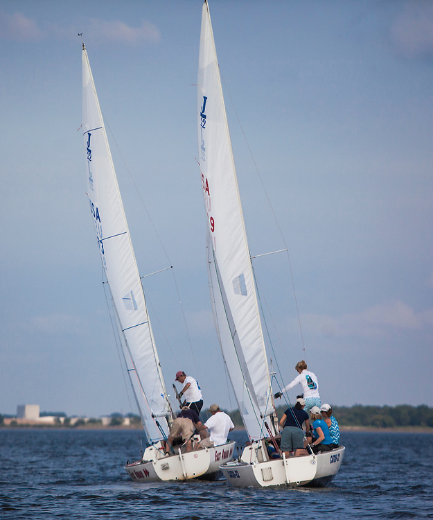 Wednesday night sailboat races with The Corinthian Yacht Club on the Delaware River in Essington,  PA.  ©Ed Hille