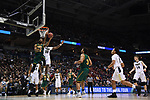 MILWAUKEE, WI - MARCH 16:  Vermont Catamounts guard Dre Wills (24) shoots a backwards layup during the second half of the 2017 NCAA Men's Basketball Tournament held at BMO Harris Bradley Center on March 16, 2017 in Milwaukee, Wisconsin. (Photo by Jamie Schwaberow/NCAA Photos via Getty Images)