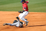 Wright State's Dan Marsh (2) steals second as Ole Miss' Blake Newalu (6) covers second at Oxford University Stadium in Oxford, Miss. on Sunday, February 20, 2011. Ole Miss won 6-5 to improve to 3-0 on the season.