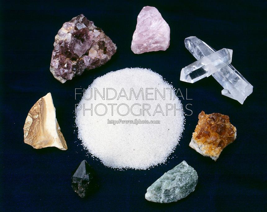SILICA FORMS (SiO2) SILICON DIOXIDE<br /> Center: Sand, Clockwise from left: Citrine, Amethyst, Rose Quartz, Rock Crystal Quartz, Jasper, Aventurine &amp; Smoky Quartz.