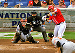 19 June 2011: Washington Nationals' catcher Wilson Ramos in action against the Baltimore Orioles at Nationals Park in Washington, District of Columbia. The Orioles defeated the Nationals 7-4 in inter-league play, ending Washington's 8-game winning streak. Mandatory Credit: Ed Wolfstein Photo