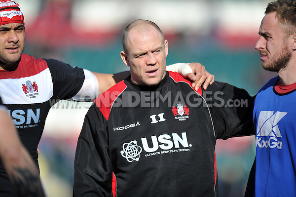 Gloucester captain Mike Tindall looks on during the pre-match warm-up. Aviva Premiership match, between Leicester Tigers and Gloucester Rugby on February 16, 2014 at Welford Road in Leicester, England. Photo by: Patrick Khachfe / JMP