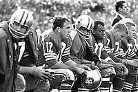 Quarterback John Brodie and the 49ers on the bench .<br />