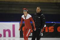 SCHAATSEN: HEERENVEEN: IJsstadion Thialf 05-02-2016, Topsporttraining en wedstrijd, Jan van Veen (trainer/coach), Marrit Leenstra, ©foto Martin de Jong