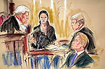 PRISCILLA COLEMAN ITN NEWS  10.02.03.DRAWING SHOWS CATHERINE ZETA-JONES IN THE WITNESS BOX AT TYHE HIGH COURT LONDON.LOOKING ON IS MICHEAL DOUGLAS ..SEE STORY.SUPPLIED BY PHOTONEWS SERVICELTD