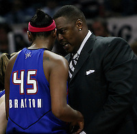 Detroit assistant coach Rick Mahorn instructs player Kara Braxton (45) during Game 2 of the WNBA Finals between the Detroit Shock and the San Antonio Silver Stars, Oct. 3, 2008, at the AT&T Center in San Antonio. Detroit won 69 - 61 to go up 2 - 0 in the best-of-five series. (Darren Abate/pressphotointl.com)