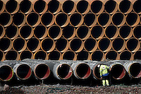 Bredero Shaw Norway's pipline preparation and storage plant. Pipes for Langeled pipeline which will take natural gas from Ormen Lange gas field in Norway, to England.