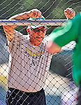 30 June 2012: Vermont Lake Monsters Manager Rick Magnante watches batting practice prior to a game against the Lowell Spinners at Centennial Field in Burlington, Vermont. Mandatory Credit: Ed Wolfstein Photo