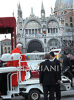 Pope Benedict XVI  arrives to meet citizens at St Mark's square in Venice during his pastoral visit to Aquilea and Venice, in Venice, Italy, 07 May 2011.