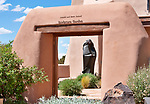 Sculptures in the garden of an art gallery in Santa Fe, New Mexico in the same complex with the Folk Art Museum