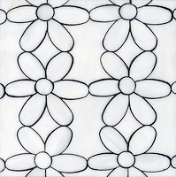 Daisies, a glass waterjet mosaic shown in Moonstone, is part of the Erin Adams Collection for New Ravenna Mosaics.<br />