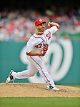 12 April 2012: Washington Nationals pitcher Gio Gonzalez in action against the Cincinnati Reds at Nationals Park in Washington, DC. The Nationals defeated the Reds 3-2 in 10 innings to take the first game of their 4-game series. Mandatory Credit: Ed Wolfstein Photo