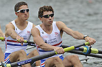 Amsterdam, NETHERLANDSS, GBR LM4-.  William FLETCHER and Jamie KIRKWOOD..  2011 FISA U23 World Rowing Championships, {dow}, {date} [Mandatory credit:  Intersport Images].