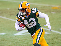 GREEN BAY - December 2014: Morgan Burnett (42) of the Green Bay Packers prior to a game against the Detroit Lions on December 28th, 2014 at Lambeau Field in Green Bay, Wisconsin.  (Photo Credit: Brad Krause)