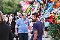 Balloon seller in the streets of Athens, Greece