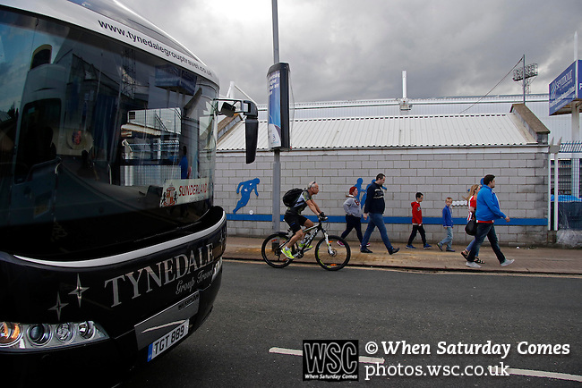 Hartlepool United 0 Sunderland 3, 20/07/2016. Victoria Park, Pre Season Friendly. Fans walking past the sunderland team bus on their way to the game. Photo by Paul Thompson.
