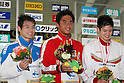 (L to R) .Kohei Yamamoto, .Yohei Takiguchi, .Junpei Higashi, .FEBRUARY 11, 2012 - Swimming : .The 53rd Japan Swimming Championships (25m) .Men's 1500m Freestyle Victory Ceremony .at Tatsumi International Swimming Pool, Tokyo, Japan. .(Photo by YUTAKA/AFLO SPORT) [1040]