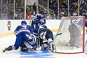 Brad Sellers (Air Force - 3), ?, Denny Kearney (Yale - 19), Adam McKenzie (Air Force - 6) - The Yale University Bulldogs defeated the Air Force Academy Falcons 2-1 (OT) in their East Regional Semi-Final matchup on Friday, March 25, 2011, at Webster Bank Arena at Harbor Yard in Bridgeport, Connecticut.