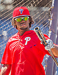 23 May 2015: Philadelphia Phillies outfielder Odubel Herrera awaits his turn in the batting cage prior to a game against the Washington Nationals at Nationals Park in Washington, DC. The Phillies defeated the Nationals 8-1 in the second game of their 3-game weekend series. Mandatory Credit: Ed Wolfstein Photo *** RAW (NEF) Image File Available ***