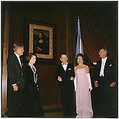 Unveiling of the Mona Lisa at the National Gallery of Art on January 8, 1963.  Left to right: United States President John F. Kennedy,  Madame Malraux, French MInister of Cultural Affairs Andre Malraux, first lady Jacqueline Kennedy, United States Vice President Lyndon B. Johnson. .Mandatory Credit: Robert Knudsen - White House via CNP