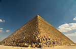 "Giza, Cairo, Egypt -- Viewed from one corner, the Great Pyramid (the pyramid of Khufu, or Cheops) looks like an easily climbed staircase.  Without perspective, it is hard to see that each ""step"" is about 3-5 feet tall. © Rick Collier / RickCollier.com."