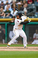 Nolan Fontana (4) of the Salt Lake Bees at bat against the Sacramento River Cats in Pacific Coast League action at Smith's Ballpark on April 11, 2017 in Salt Lake City, Utah.  The River Cats defeated the Bees 8-7. (Stephen Smith/Four Seam Images)