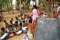 Classes resume and children return to the routine and stability of school.Nagapattinam.Tamil Nadu.India.