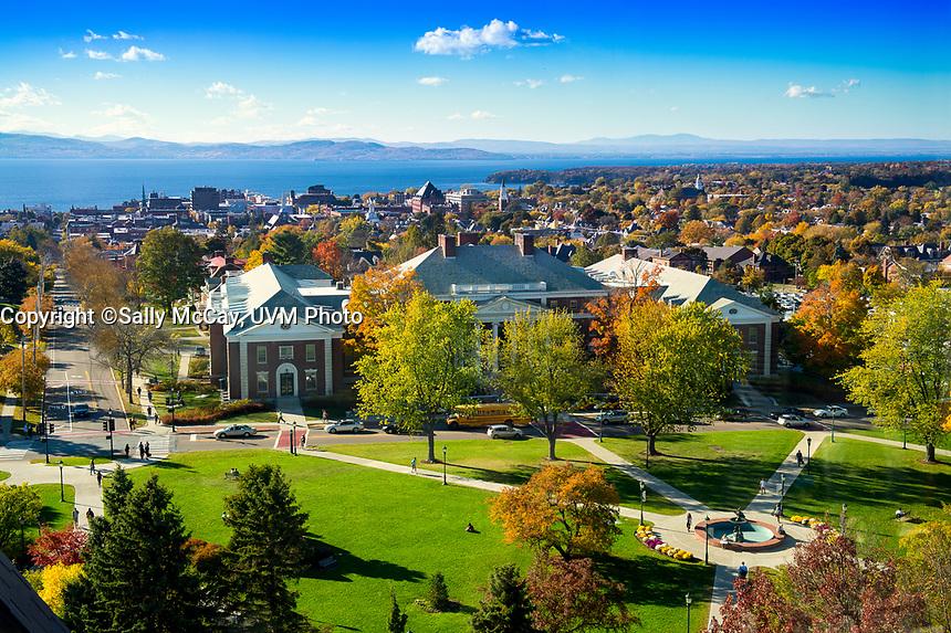UVM Campus Birdseye View, Fall.