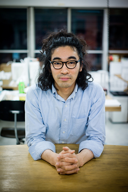 Tokyo, December 8 2010 - Portrait of the Japanese architect Hideyuki Nakayama in his office of the Shinjuku area.