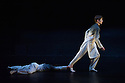 London, UK. 16.12.2014. Rambert present two evenings of new choreography from members of the company, on the 16th and 17th December, at The Place. Picture shows: Edit Domoszlai and Daniel Davidson in RIFT, by choreographer Simone Damberg Wurtz. Photograph © Jane Hobson.